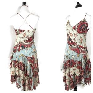 Ralph Lauren Dress Distressed Hem Patchwork Floral
